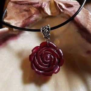 Red Agate Carved Rose PENDANT